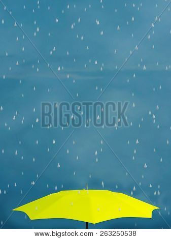 3d Rendering Of A Yellow Umbrella In The Rain. Blue Sky.