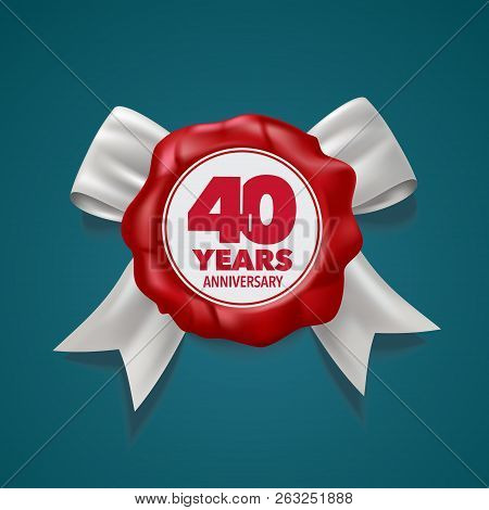 40 Years Anniversary Vector Logo, Icon. Template Design Element
