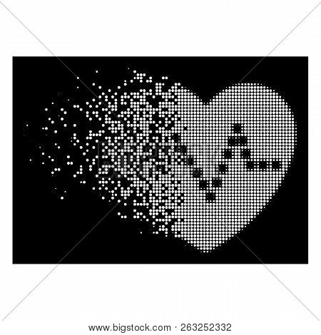 Heart Pulse Icon With Dissipated Effect On Black Background. White Particles Are Arranged Into Vecto