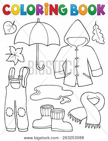 Coloring Book Autumn Objects Set 1 - Eps10 Vector Picture Illustration.