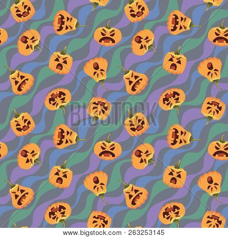 Pumpkin Halloween Pattern. Vector Illustration Of Pumpkin Heads In Different Form With Various Emoti