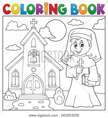 Coloring Book Happy Nun Topic 2 - Eps10 Vector Picture Illustration.