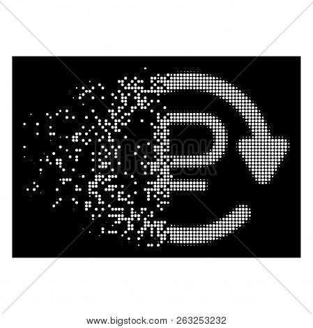 Rouble Recurring Payment Icon With Disintegrated Style On Black Background. White Points Are Organiz