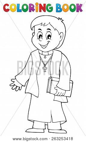 Coloring Book Young Priest Topic 1 - Eps10 Vector Picture Illustration.