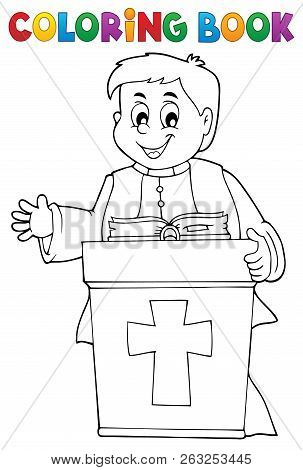 Coloring Book Young Priest Topic 2 - Eps10 Vector Picture Illustration.