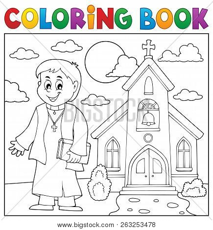 Coloring Book Young Priest Topic 3 - Eps10 Vector Picture Illustration.