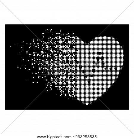 Dotted Heart Pulse Icon With Fractured Style On Black Background. White Circle Dots Are Grouped Into