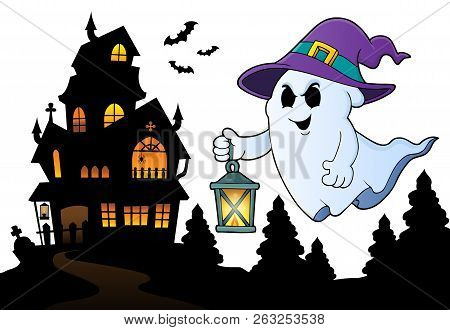 Ghost With Hat And Lantern Topic 3 - Eps10 Vector Picture Illustration.