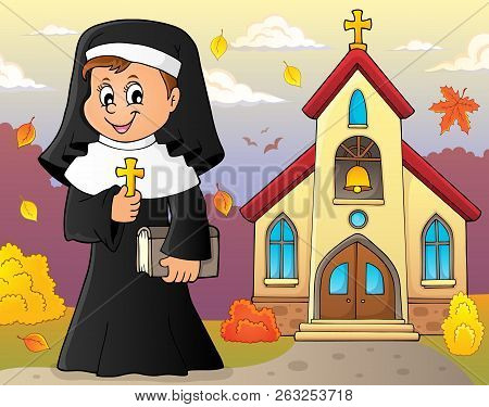 Happy Nun Topic Image 3 - Eps10 Vector Picture Illustration.