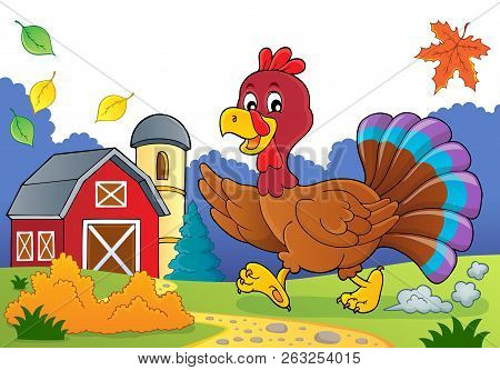 Running Turkey Bird Theme Image 3 - Eps10 Vector Picture Illustration.