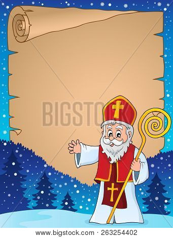 Saint Nicholas Topic Parchment 1 - Eps10 Vector Picture Illustration.