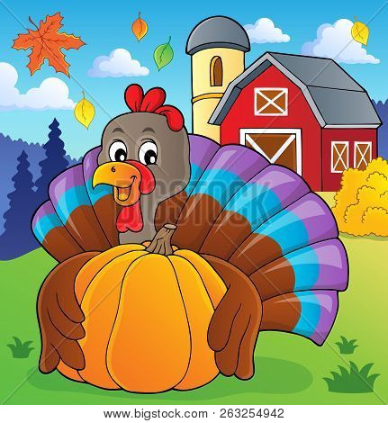 Turkey Bird Holding Pumpkin Theme 2 - Eps10 Vector Picture Illustration.