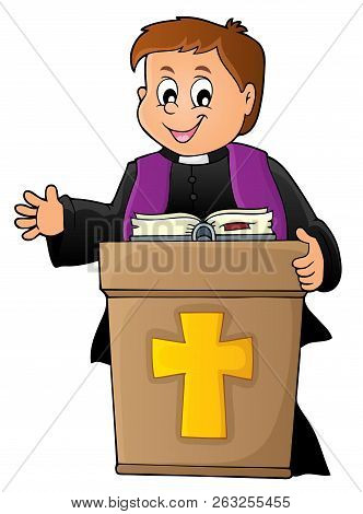 Young Priest Topic Image 2 - Eps10 Vector Picture Illustration.