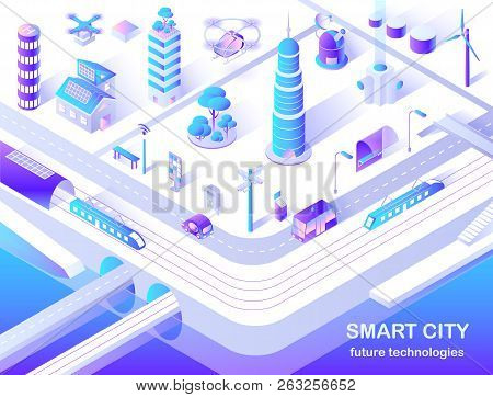 Smart City Future Technology Isometric Flowchart With Delivery And Police Drones, Solar Lights And T