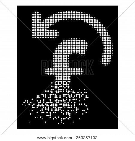 Undo Pound Payment Icon With Disappearing Effect On Black Background. White Fragments Are Arranged I
