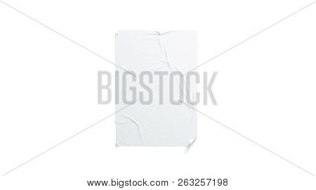Blank White Wheatpaste Adhesive Poster Mockup, Isolated, 3d Rendering. Empty Urban Wallpaper Mock Up