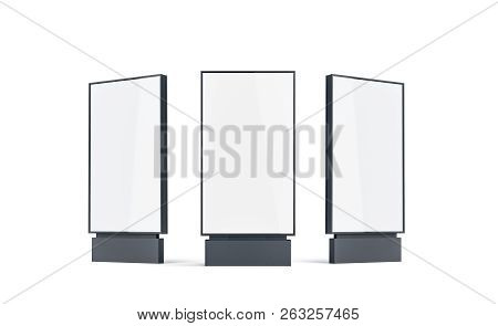 Blank White Pylon Mock Up Set, Isolated, 3d Rendering. Empty Street Banner Mockup, Front, Left And R