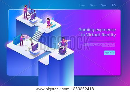 Gaming Experience In Virtual Reality Conceptual Isometric Web Banner With People In Vr Headset Playi
