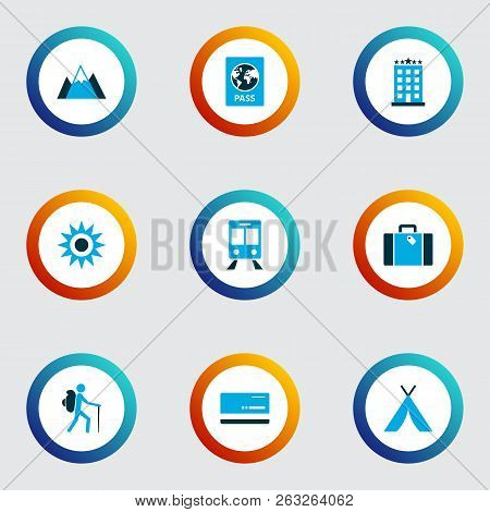 Journey Icons Colored Set With Sunny, Mastercard, Traveler And Other Train Elements. Isolated Vector
