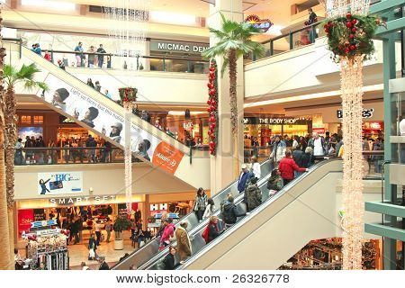 Dartmouth, NS - Dec. 12, 2007.  Shoppers at the MicMac Mall, Dartmouth, Nova Scotia, Canada