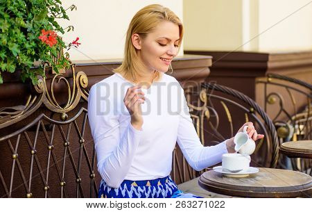 Daily pleasant rituals make life better. Woman have drink cafe terrace outdoors. Girl drink coffee every morning at same place as daily ritual. Mug of good coffee in morning gives me energy charge poster
