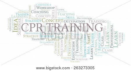 Cpr Training Word Cloud. Wordcloud Made With Text Only.