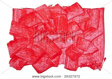 Red textured background composed of broad strokes and hard edges of red acrylic paint.