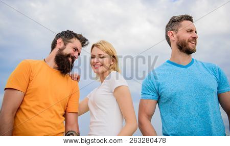 Girl Decided With Whom Dating. Start Romantic Relationships. Girl Stand Between Two Men. Couple And