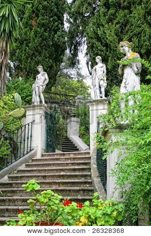 Classical inspired statues on the grounds of the Achillion Palace on the island of Corfu.