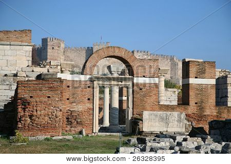 The ruins of the St. John's Basilica  on Ayasuluk Hill, Selcuk, Ephesus, Turkey.  Castle in the background.