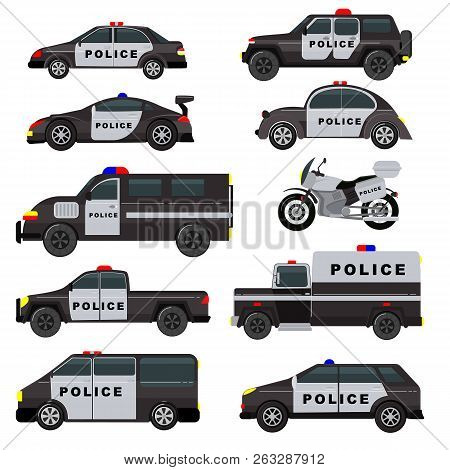 Police Car Vector Emergency Policy Vehicle Truck And Suv Automobile Patrol And Policemans Motorcycle