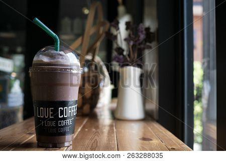 Mocha Frappe Coffee With I Love Coffee Label On A Cup In A Lovely Coffee Shop
