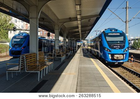Szczecin, West Pomeranian / Poland - 2018: Two Modern Passenger Trains Are Waiting For Passengers At