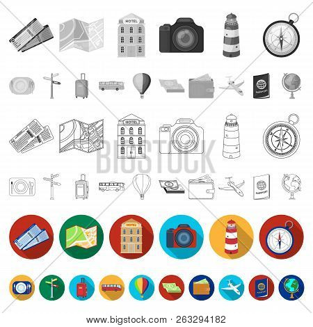 Rest And Travel Flat Icons In Set Collection For Design. Transport, Tourism Vector Symbol Stock Web