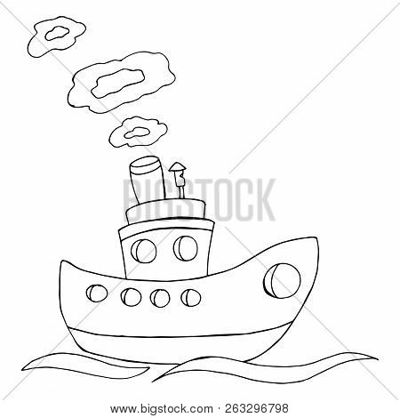 Boat. Vector Illustration Of A Cartoon Boat. Hand Drawn Wooden Boat.