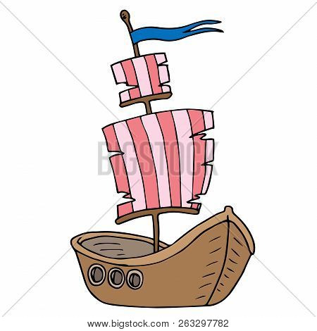Boat With Sailsicon. Vector Illustration Of A Cartoon Boat. Hand Drawn Old Wooden Boat.