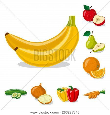 Isolated Object Of Vegetable And Fruit Symbol. Set Of Vegetable And Vegetarian Vector Icon For Stock