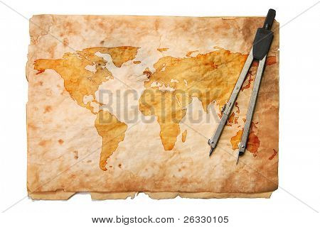 Grunge style old map with compasses