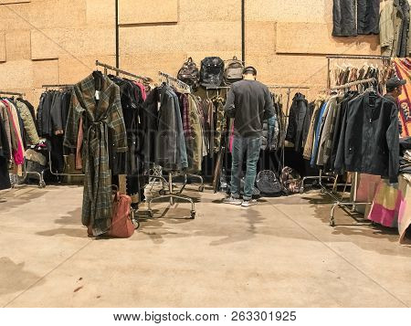 Milan, Italy - October 14, 2018: People Are Shopping At The Vintage East Market In Milan. The East M