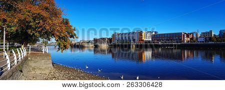Limerick City Skyline Ireland. Beautiful Limerick Urban Cityscape Over The River Shannon On A Sunny