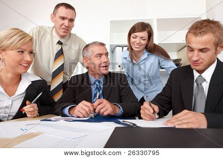 Business group at the meeting, discussion