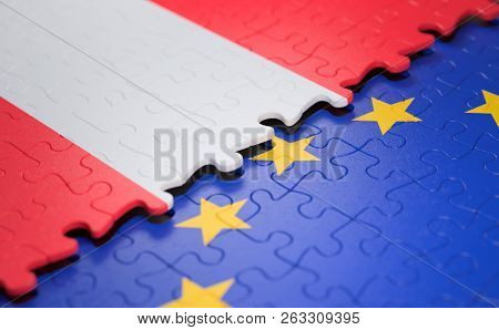 Flag Of The Austria And The European Union In The Form Of Puzzle Pieces In Concept Of Politics And E