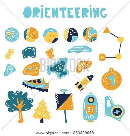Vector Illustration Of Orienteering Map Signs. Large Set Of Map Isolated Elements, Topo Symbols And