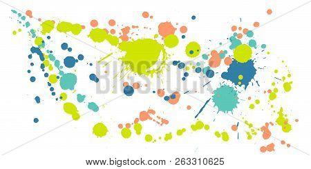 Gouache Paint Stains Grunge Background Vector. Funky Ink Splatter, Spray Blots, Dirt Spot Elements,