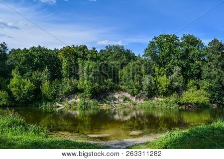 Summer Day On The River, Landscape, Blue Sky With Clouds. Beautiful River Landscape. The Ukrainian R