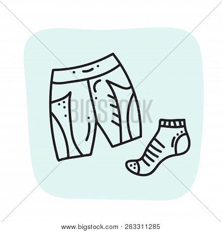 Vector Illustration Of Sport Orienteering Isolated Elements: Clothes, Sock, Shorts. Orientation, Nav