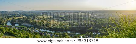 View From Above - Panorama, Landscape, City Izyum, Seversky Donets. Summer Landscape - Sunset, Fores