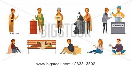 Isolated Homeless People Cartoon Icon Icon Set With Different Age Sex And Types Of Homeless People V