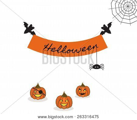 Pretty Scenery With Gossamer. Two Bats Hold Slogan `helloween` With Spider. Three Pumpkins On The He