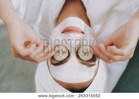 Spa Day In Beauty Salon. Towel On Head. Beauty Mask. Mother In Spa. Consept Beauty Salon. Beautiful